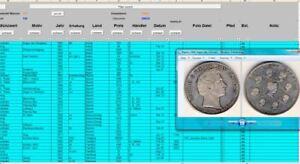 Excel Datenbank Münzsammlung mit Münzfotos database