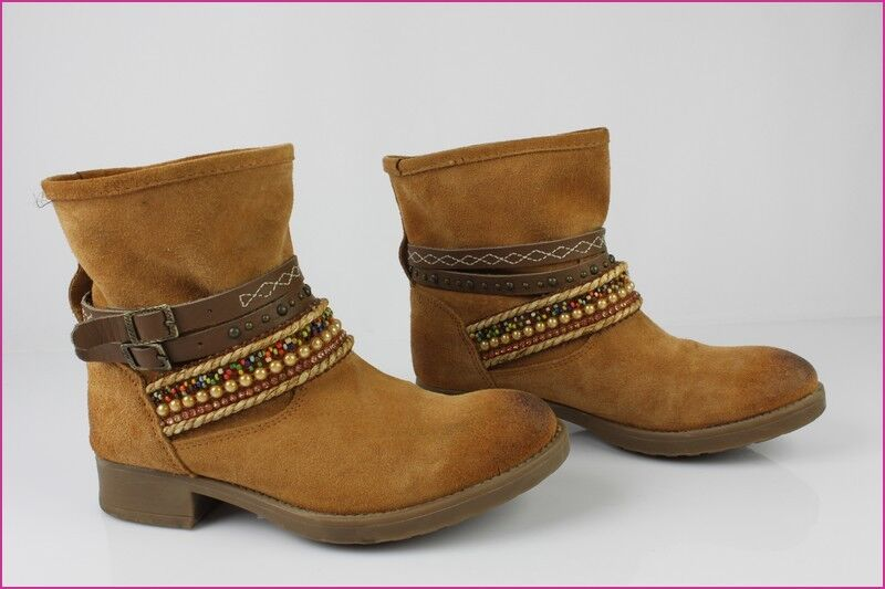 Boots Booties CLOSER By Chausséa Suede Fauve T 36 Mint