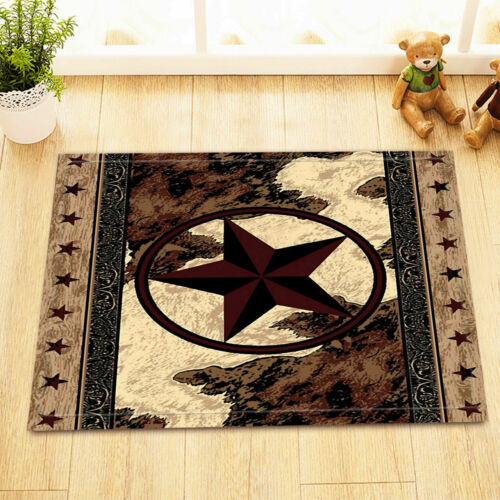Retro Texas Star Western America Floor Rug Non-skid Door Bath Mat Decor Carpet