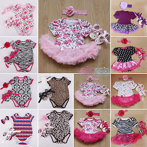 20608f2a73ad 3pcs Newborn Baby Girl Jumpsuit Romper Dress Headband Shoes Outfits ...