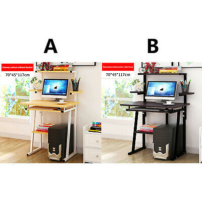 Compact Small Computer Desk PC Laptop Table Desktop Home Study Gaming W// Shelves