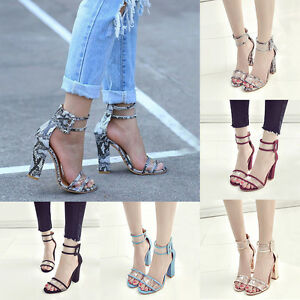 11f69b16a25a Image is loading Women-Fashion-High-Heels-Thick-Heel-Transparent-Open-