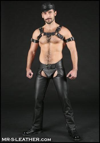 New Genuine Leather Chaps Outside Zip Pants Jocks Trousers Gay Fetish Kink Leder