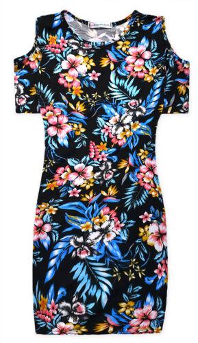 Girls Floral Midi Dress New Kids Cold Shoulder Black Dresses Ages 5-13 Years