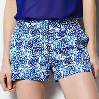 Milly For Designation Blue Print Sateen Shorts Size Size 4,8;nwt