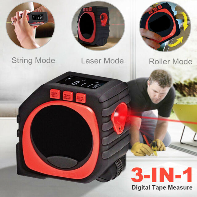 Measure King 3 In 1 Digital Tape Measure String Sonic Roller Mode Laser Tool US