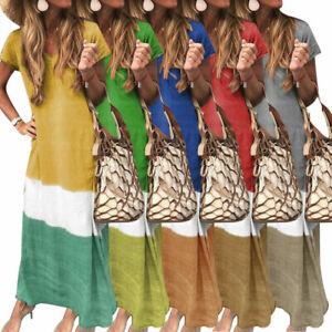 Womens-Ladies-Plus-Size-Maxi-Boho-Dress-Summer-Casual-Beach-Kaftan-Sundress-UK