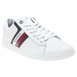 e077acce4 Image is loading New-Mens-Tommy-Hilfiger-White-Corporate-Leather-Trainers-