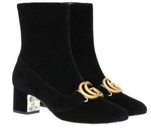 0c29427f4 NEW GUCCI LUXURY BLACK VELVET DOUBLE G LOGO ANKLE BOOTS SHOES 38/US ...
