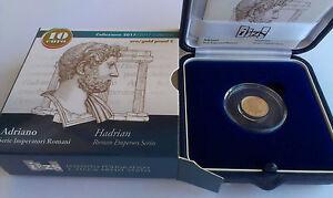 ITALIA-10-EURO-2017-oro-gold-proof-fondo-specchio-034-ADRIANO-034-serie-Imperatori