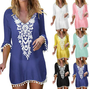 Women-Pom-Trim-Tassel-Lace-Crochet-Swimwear-Beach-Cover-Up-Loose-Beach-Dresses