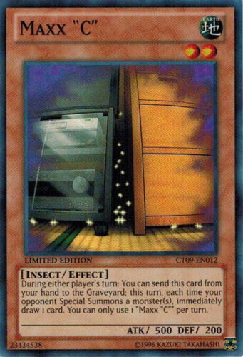 "CT09-EN012 1x Maxx /""C/"" Limited Edition NM YuGiOh Super Rare Promo Cards"