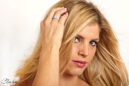1.4ct Princess Cut Halo Bridal Engagement Wedding Ring Band Set White Gold
