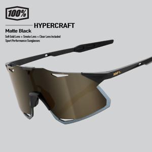 100% Percent Cycling Hypercraft Sunglasses Matte Black / Soft Gold 61039-019-69