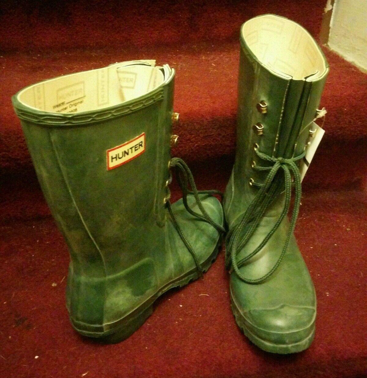 prezzi più convenienti RARE HUNTER verde LACE UP RUBBER RAIN stivali stivali stivali US Uomo 8 Donna  10 W23608 watling  alta qualità genuina