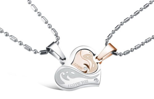 Fashion Stainless steel  crystal Puzzle Heart love for him and her necklace