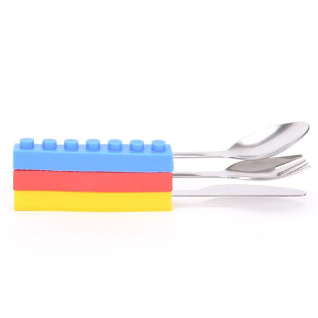 Bricks Portable silicone stainless steel Travel Kids  Cutlery Fork Picnic Set en