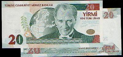 2005 1-NEW-LIRA TURKEY p 216 P216, UNC A prefix