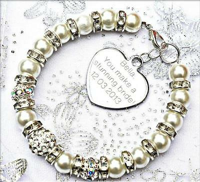 Personalised Engraved Bride Wedding Charm Bracelet Free Card & Bag & 12 Colours