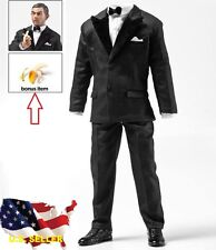 1/6 Black Color tuxedo Suit agent Mr Bean Man clothes for Hot toys ❶US seller❶