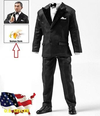 "1//6 scale black leather business suit set for 12/"" figure hot toys  ❶US SELLER❶"