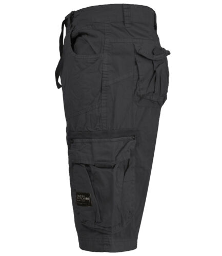 Mens Crosshatch Combat Cargo Shorts Knee Length Cotton Bermuda Twill Summer Pant
