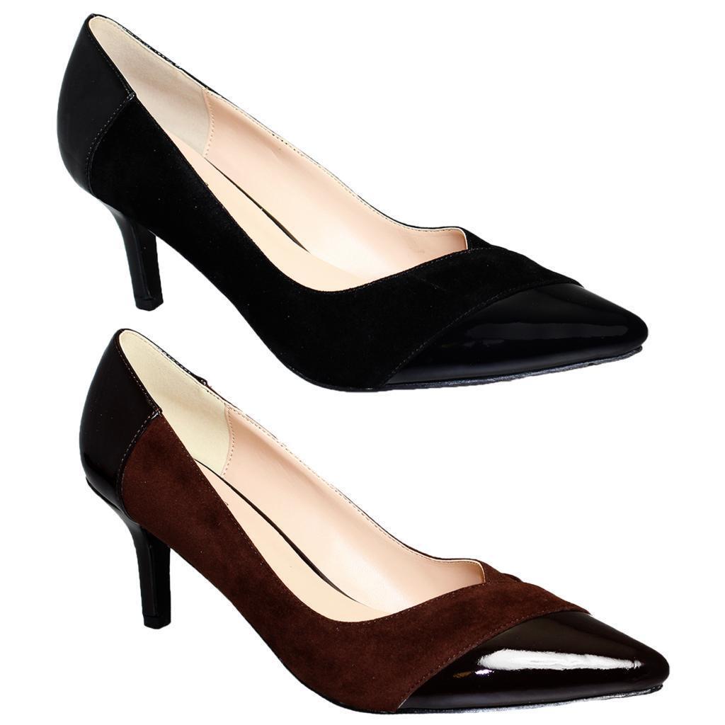Women's Low Heel Pointed Toe Ladies Patent Contrast Suede Smart Heels Shoes