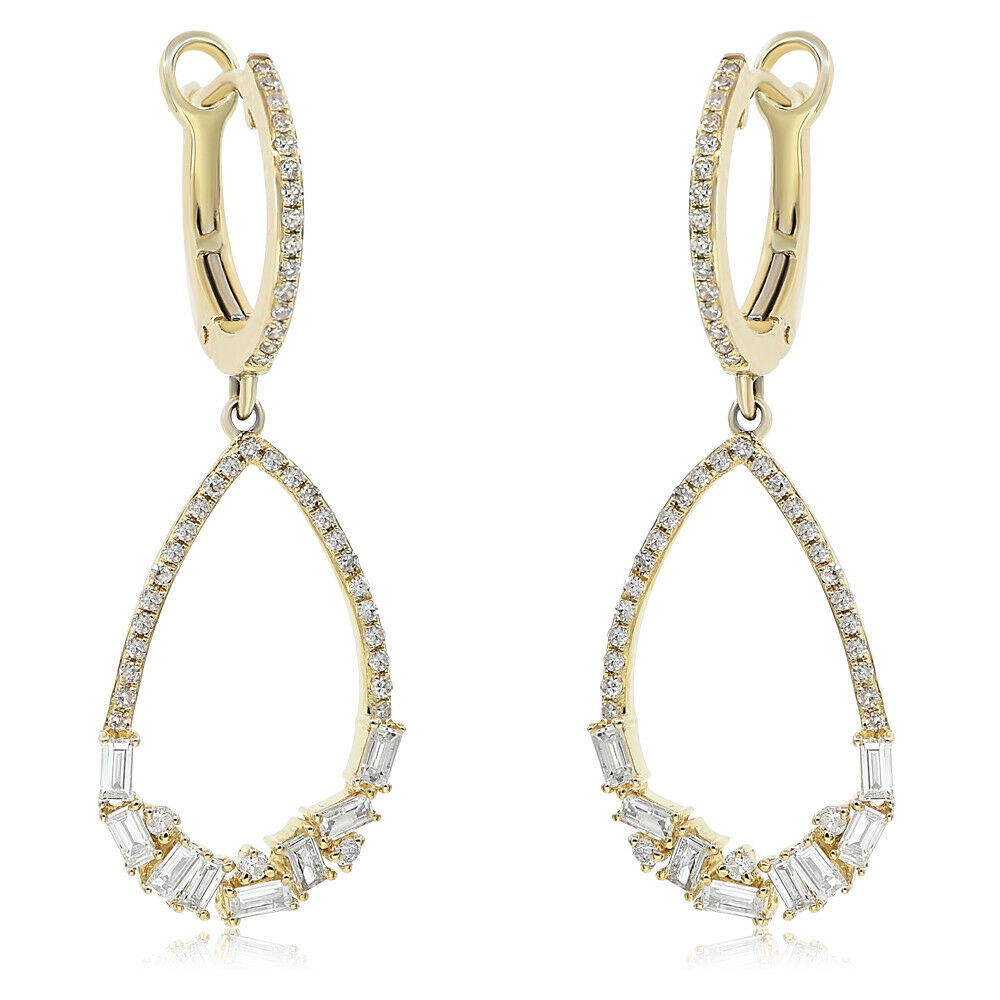 14K YELLOW gold PAVE DIAMOND BAGUETTE TEARDROP TEAR DANGLE DANGLING EARRINGS