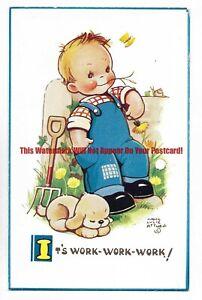 Mabel-Lucie-Attwell-039-Its-Work-Work-Work-039-Vintage-Postcard-20-1