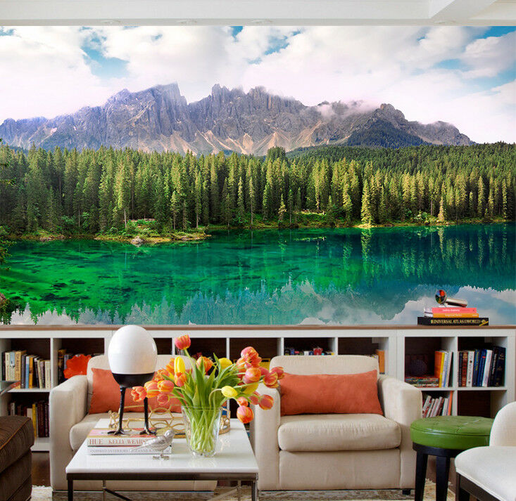 3D Grün Lake Tree 5 Wallpaper Murals Wall Print Wallpaper Mural AJ WALLPAPER UK