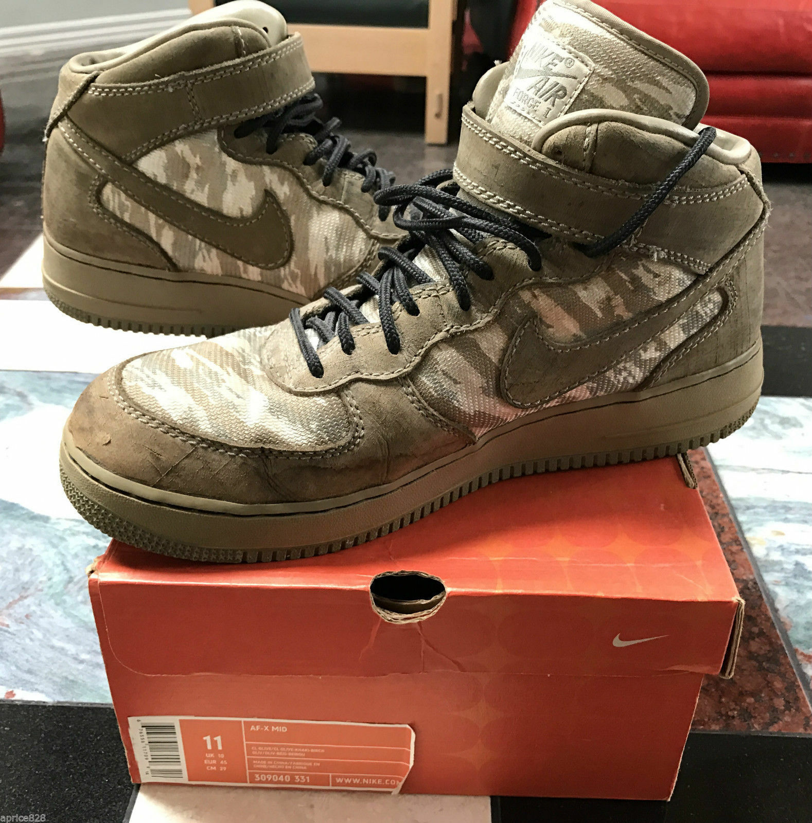 2004 NIKE AF-X MID AIR FORCE 1 RECON CAMO OLIVE GREEN QUESTLOVE JP DUNK MAX 11