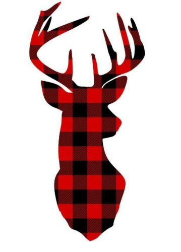 Buck with Antlers in Red Plaid Decal//Sticker for Car//Truck//Window//Mirror