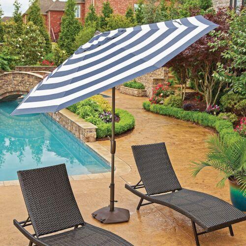 10/' Market Umbrella Sunbrella Fabric w//Auto Tilt Navy Blue//White Stripe NEW