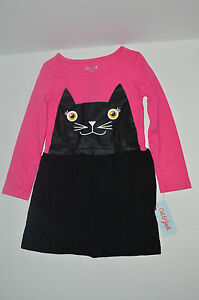 NEW Youth Girl Cat & Jack Pink/Black Kitty Face/Tail Halloween Long Sleeve Dress Kindermode, Schuhe & Access.