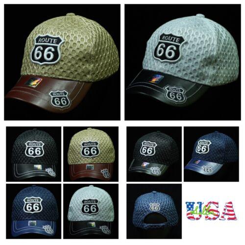 Plain Baseball Cap Fashion Hat Adjustable Causal Mesh Caps Road Route 66 Hats