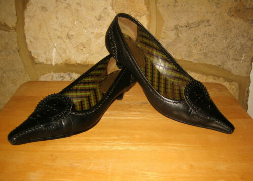 Slip 5 Toes All 39 On Shoes Nero Size Leather Heels Kitten Lades Miu Point qt8azz