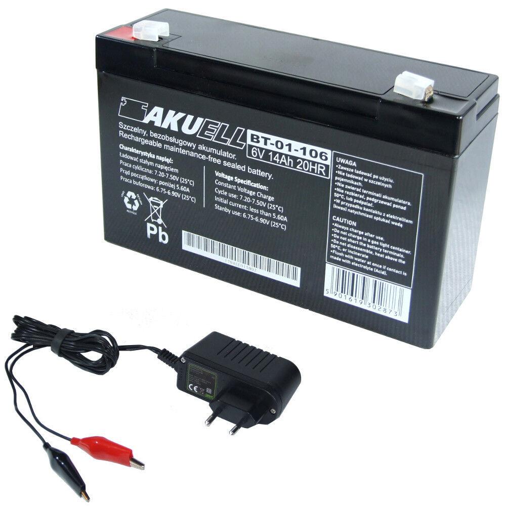 AGM Akku 6V 14 Ah AGM Batterie ersetzt 10 Ah 12 Ah + Ladegerät