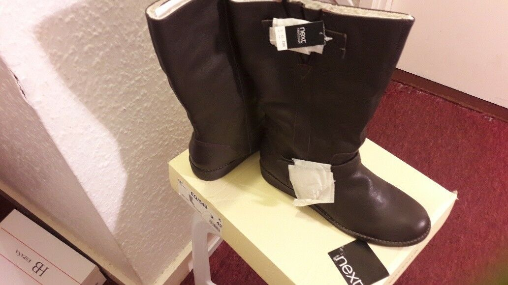 femmes CHOCOLATE marron MID CALF bottes Taille 8 42 NEXT