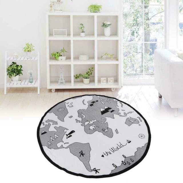 135cm Baby Round Carpet Playing Mat World Map Floor Cotton Kid Crawling Pad Rug