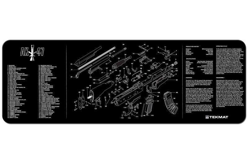 TECHNICAL ARTWORK ILLUSTRATION TEKMAT of KALASHNIKOV AK RUSSIAN 47 RIFLE DIAGRAM