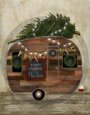 Primitive Christmas Happy Camper Christmas Tree Print 8x10