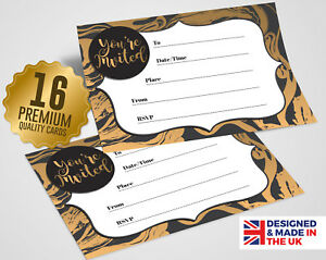 Details About Black Gold Party Invitations 16 A6 Cards Party Social Event Invites