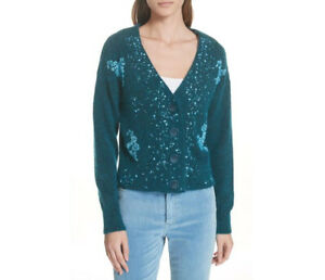 Lewit-Sweater-S-Teal-Sea-Green-Women-039-s-Beaded-V-Neck-Cardigan-Women-s-NWT-449