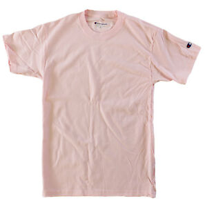 Champion-Men-100-Cotton-Short-Sleeve-T-Shirt-Pale-Pink-Large-L