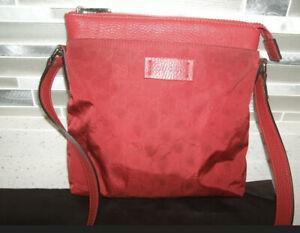Gucci Authentic Red GG Guccissima Nylon Medium Messenger Crossbody Bag