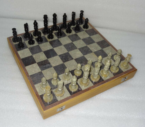 "12"" Marble Chess Set Handcarved Stone Pieces Travel Handmade Play Game Deco Gift"
