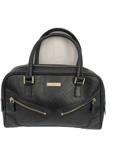 Gucci Authentic Black Leather Insignia Embossed ha