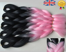 "5 Packs Black & Pink 24"" Ombre Dip Dye Kanekalon Jumbo Braids Hair Extensions UK"