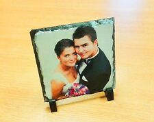 Personalised Custom Printed Rock Slate Square Desk Photo Display Gift and stands