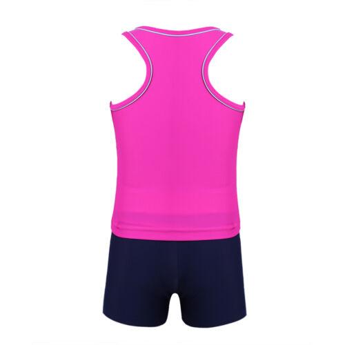 Kids Girls 2Pcs Swimwear Swimsuit Tankini Set Top+Bottoms Bathing Suit Beachwear